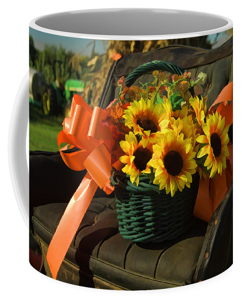 Buggy Coffee Mug featuring the photograph Antique Buggy And Sunflowers by Kathy Clark