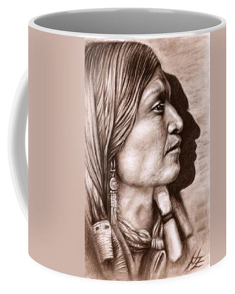 Portrait Coffee Mug featuring the drawing Apache Chief by Nicole Zeug