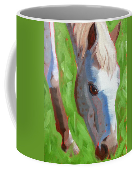 Horse Coffee Mug featuring the painting Appaloosa by Pet Whimsy Portraits