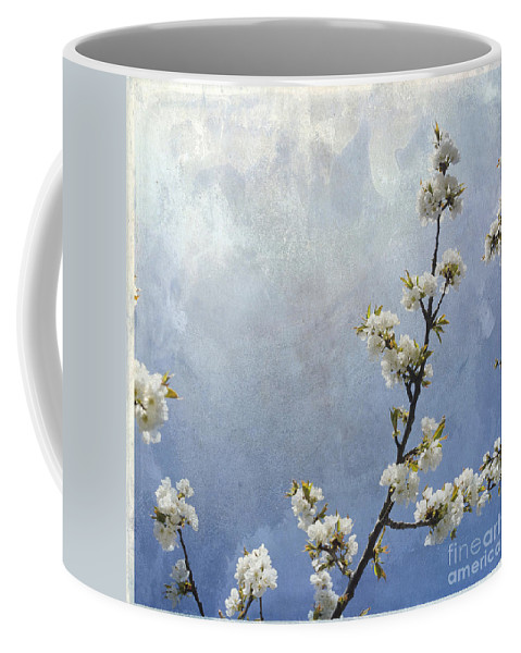 Apple Blossom Coffee Mug featuring the photograph Apple Branch On A Textured Background by Bernard Jaubert