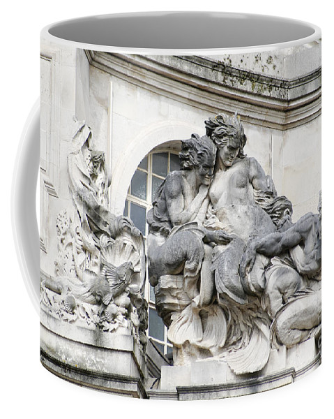 Cardiff Coffee Mug featuring the digital art Art Gallery Statue In Cardiffs by Carol Ailles