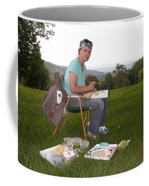 Artist In Action Coffee Mug featuring the photograph Artist In Action En Plein Air by Anna Ruzsan