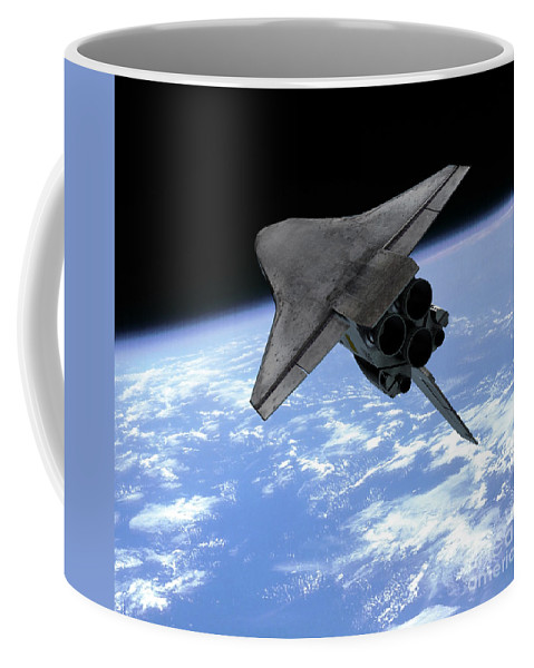 Space Exploration Coffee Mug featuring the digital art Artists Concept Of A Space Shuttle by Walter Myers
