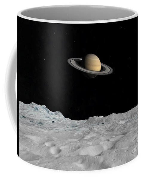 Astronomy Coffee Mug featuring the digital art Artists Concept Of Saturn As Seen by Walter Myers