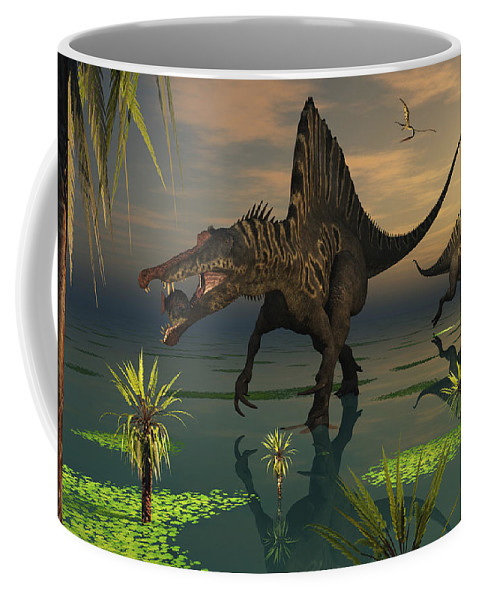 Digitally Generated Image Coffee Mug featuring the digital art Artists Concept Of Spinosaurus by Mark Stevenson