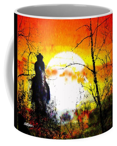 Asleep In The Saddle Coffee Mug featuring the digital art Asleep In The Saddle by Seth Weaver