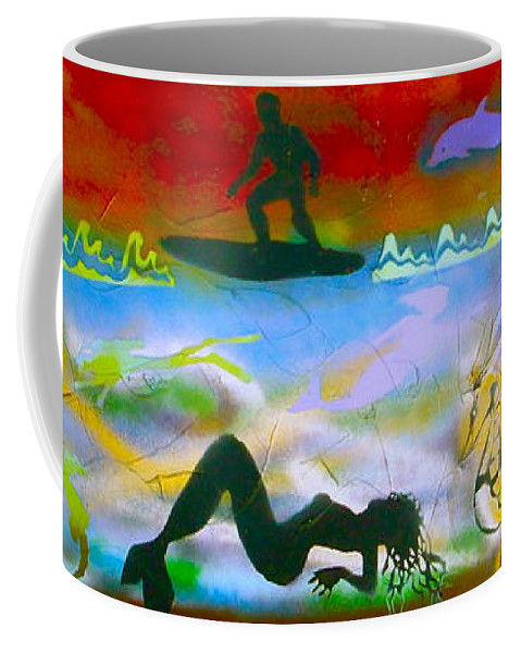 Mermaid Coffee Mug featuring the painting At Sea Gold by Tony B Conscious