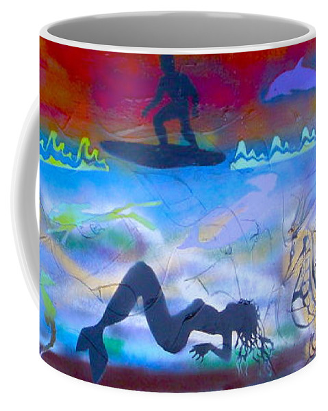 Mermaid Coffee Mug featuring the painting At Sea by Tony B Conscious