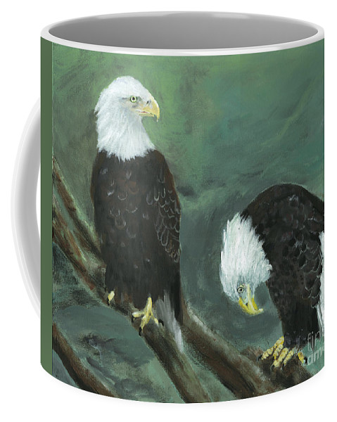 Bald Eagle Coffee Mug featuring the painting At Your Service by Jamie Hartley