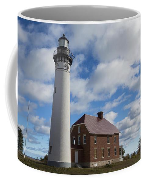 Au Sable Coffee Mug featuring the photograph Au Sable Lighthouse 1 by John Brueske