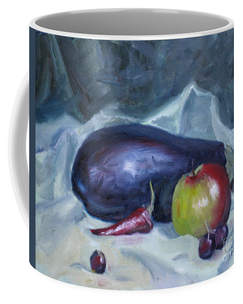 Apple Coffee Mug featuring the painting Aubergine by Mohamed Hirji