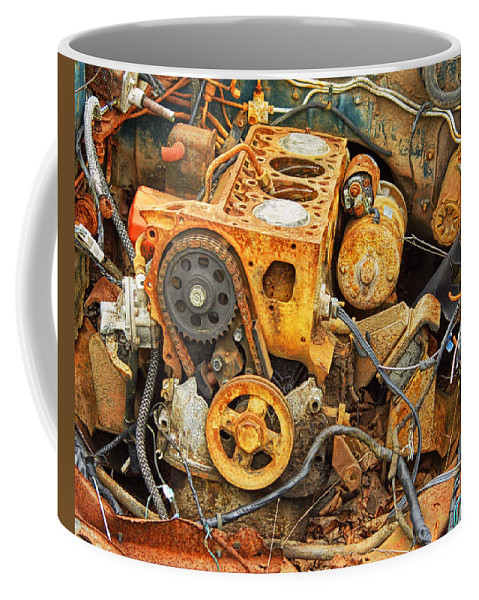 Art Coffee Mug featuring the photograph Auto Engine Block From A Wrecked Car by Randall Nyhof