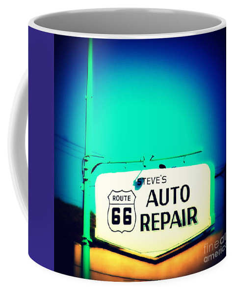 Auto Repair Coffee Mug featuring the photograph Auto Repair Sign On Route 66 by Susanne Van Hulst