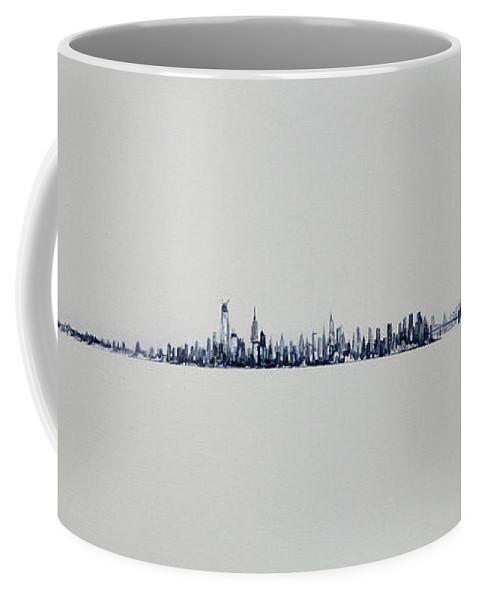 White Coffee Mug featuring the painting Autum Skyline by Jack Diamond