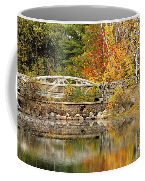 Autumn Coffee Mug featuring the photograph Autumn Bridge by Mike Nellums