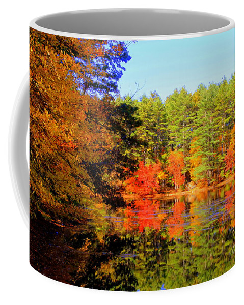 Coffee Mug featuring the photograph Autumn Mosiac by Lennie Malvone