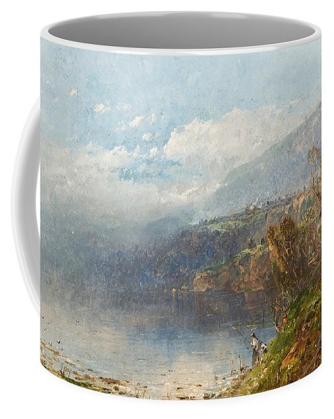 Autumn On The Androscoggin (oil On Canvas)fall; Seasons; Autumnal; River; North America; North American; Maine; New Hampshire; New England; Landscape; Mist; Misty; Wild; Wilderness; Remote; Male; Fisherman; Fishing; Solitary; Riverbank; Landscape Coffee Mug featuring the painting Autumn On The Androscoggin by William Sonntag