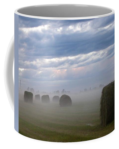 Farm Coffee Mug featuring the photograph Bails In Fog by Leanne Karlstrom