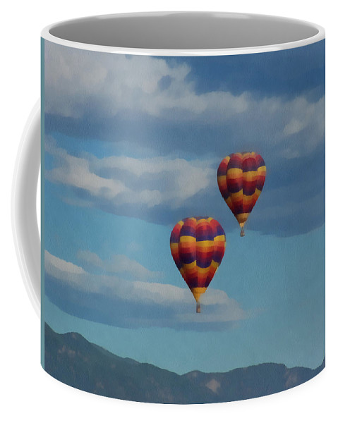Balloons Coffee Mug featuring the digital art Balloons Over The Rockies Painterly by Ernie Echols