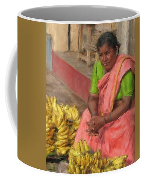 Banana Coffee Mug featuring the painting Banana Seller by Dominic Piperata
