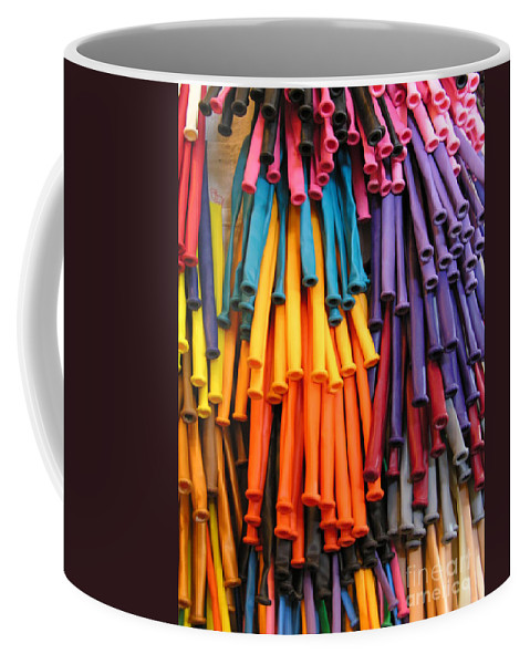 Rubber Bands Hanging Coffee Mug featuring the photograph Bands Of Color by Diane Greco-Lesser
