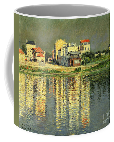 Bord De La Seine A Argenteuil Coffee Mug featuring the painting Banks Of The Seine At Argenteuil by Gustave Caillebotte