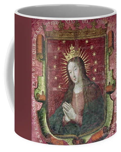 16th Century Coffee Mug featuring the painting Banner Of Hernan Cortes by Granger