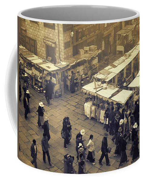 Black And White Coffee Mug featuring the photograph Barkhor Ramblings by Joan Carroll