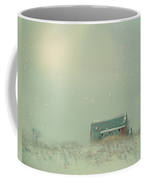 Barn Coffee Mug featuring the photograph Barn In Winter by Gothicrow Images