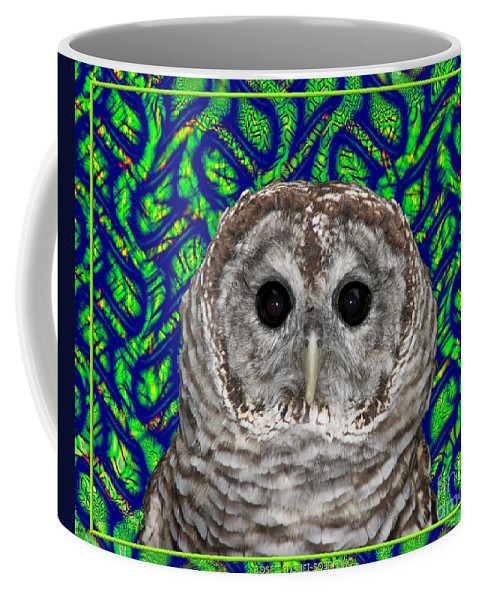 Barred Owl Coffee Mug featuring the photograph Barred Owl In A Fractal Tree by Rose Santuci-Sofranko
