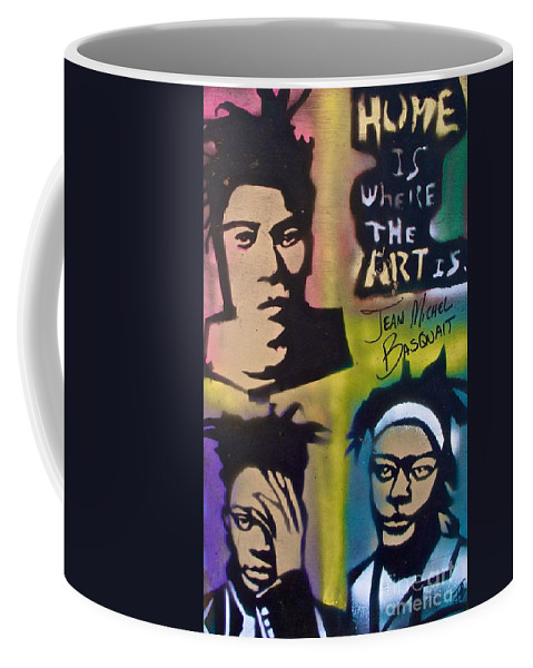 Andy Worhol Coffee Mug featuring the painting Basquait Squared by Tony B Conscious