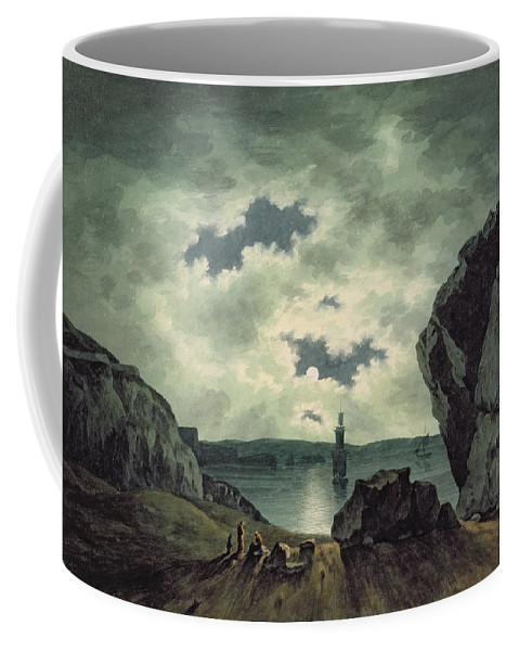 Bay Coffee Mug featuring the painting Bay Scene In Moonlight by John Warwick Smith