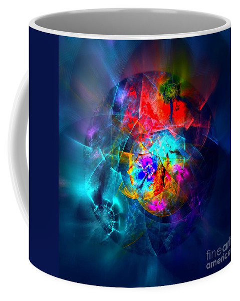 Colorful Planet Coffee Mug featuring the digital art Be Careful - Fragile by Klara Acel