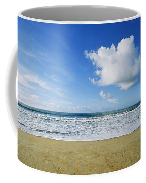 North America Coffee Mug featuring the photograph Beach, Ocean, Sky, And Clouds by Skip Brown