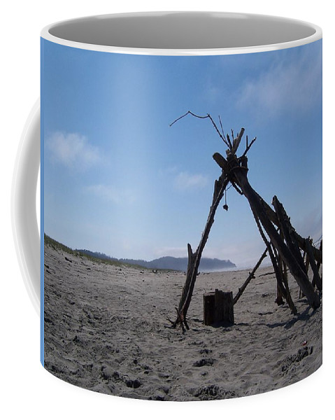 Beach Coffee Mug featuring the photograph Beach Shelter Skeleton by Peter Mooyman