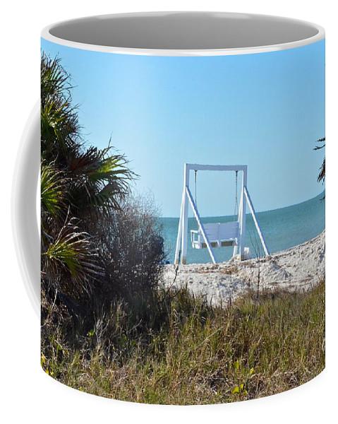Swing Coffee Mug featuring the photograph Beach Swing by Carol Bradley