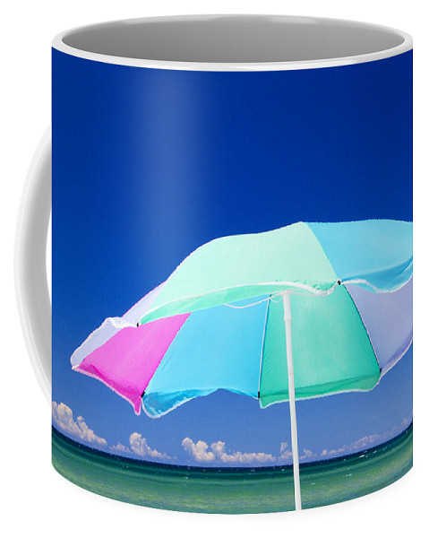 Art Coffee Mug featuring the photograph Beach Umbrella At The Shore by Randall Nyhof