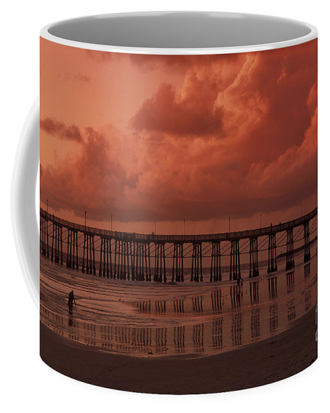 Sandra Bronstein Coffee Mug featuring the photograph Beachcombing At Oceanside Pier by Sandra Bronstein