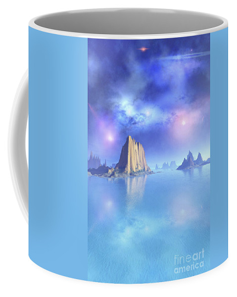 Beach Coffee Mug featuring the digital art Beautiful Night Scene Of The Ocean by Corey Ford