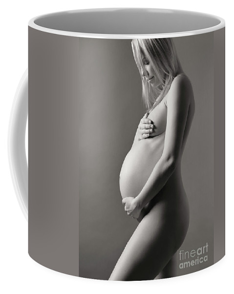 Pregnant Coffee Mug featuring the photograph Beautiful Nude Pregnant Woman Studio Portrait by Oleksiy Maksymenko