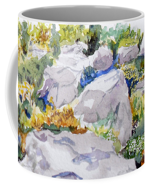 Watercolor Coffee Mug featuring the painting Beauty In The Rocks by Vicki Housel