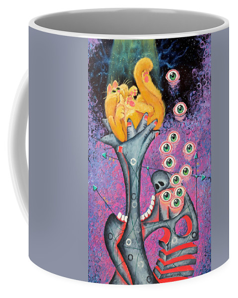 Cat Coffee Mug featuring the painting Behold The Golden Kitten by Baron Dixon