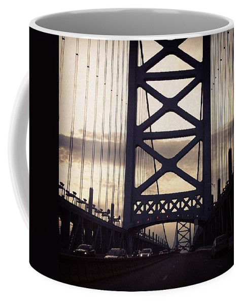 Bridge Coffee Mug featuring the photograph Ben Franklin Bridge by Katie Cupcakes