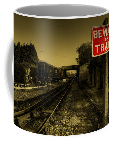 Beware Coffee Mug featuring the photograph Beware Of Trains by Rob Hawkins