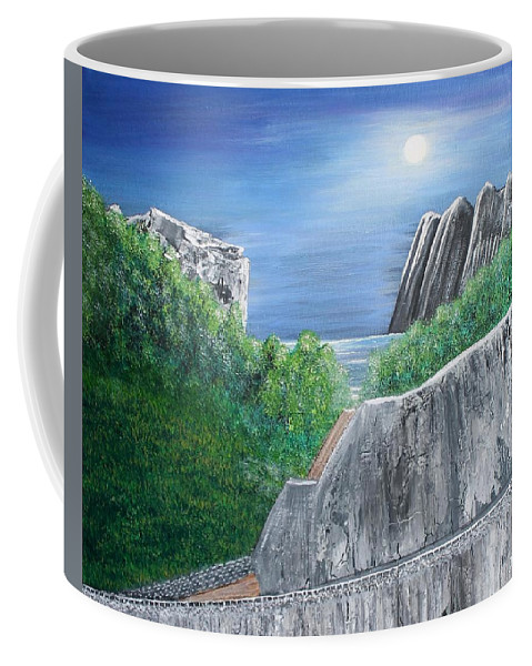 Rocks Coffee Mug featuring the painting Beyond The Rock by Debbie Levene