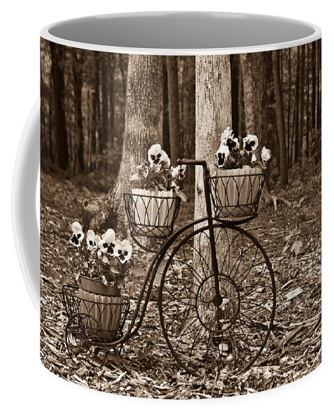 Nostalgia Coffee Mug featuring the photograph Bicycle Built For Three by Douglas Barnett
