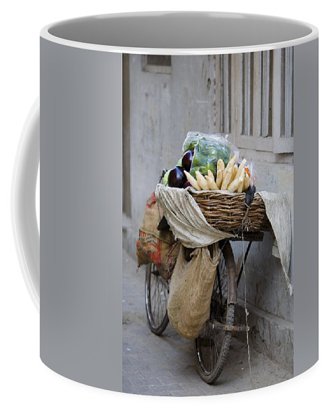Activity Coffee Mug featuring the photograph Bicycle Loaded With Food, Delhi, India by David DuChemin