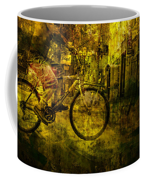 Art Coffee Mug featuring the photograph Bicyclist On The Move No. Ol4 by Randall Nyhof