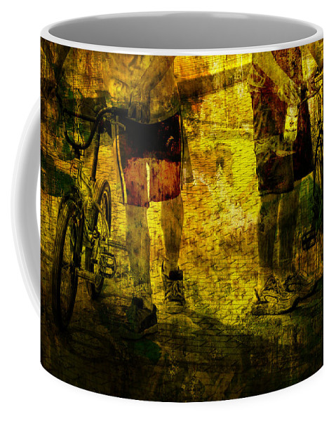 Art Coffee Mug featuring the photograph Bicyclists On The Move No. Ol6 by Randall Nyhof