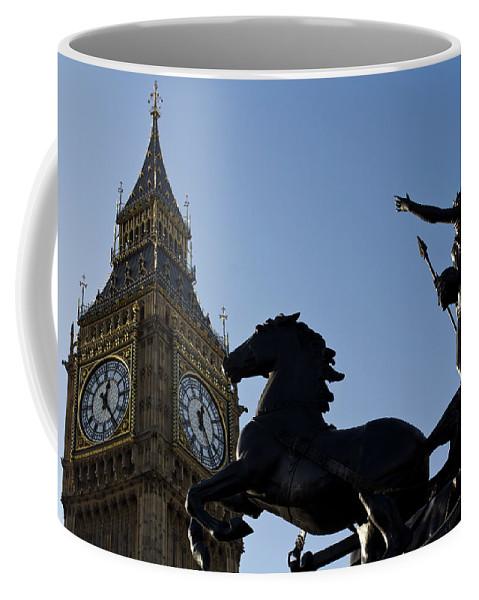 Digital Coffee Mug featuring the photograph Big Ben And Boadicea Statue by David Pyatt